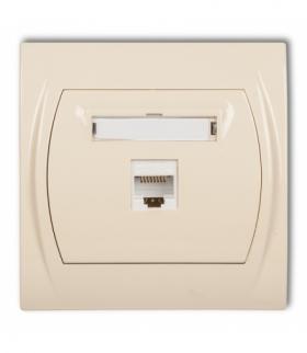 LOGO Gniazdo komputerowe pojedyncze 1xRJ45 kat. 5e 8-stykowy Beżowy Karlik 1LGK-1