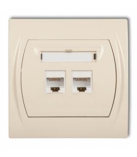 LOGO Gniazdo komputerowe podwójne 1xRJ45 kat. 5e 8-stykowy Beżowy Karlik 1LGK-2