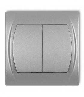 LOGO Łącznik podwójny schodowy (dwa klawisze bez piktogramów) Srebrny metalik Karlik 7LWP-33.1