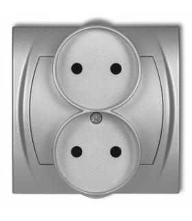 LOGO Gniazdo podwójne do ramki poziomej bez uziemienia 2x2P (przesłony torów prądowych) Srebrny metalik Karlik 7LGPR-2p