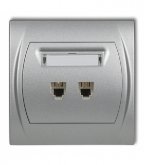 LOGO Gniazdo telefoniczne podwójne 2xRJ11 4-stykowy Srebrny metalik Karlik 7LGT-2