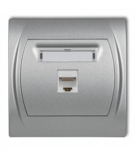 LOGO Gniazdo komputerowe pojedyncze 1xRJ45 kat. 5e 8-stykowy Srebrny metalik Karlik 7LGK-1