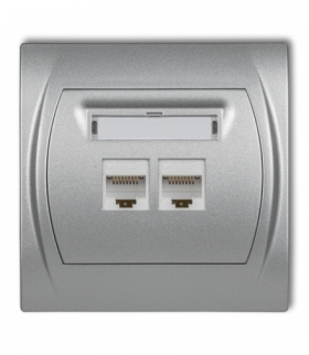 LOGO Gniazdo komputerowe podwójne 1xRJ45 kat. 5e 8-stykowy Srebrny metalik Karlik 7LGK-2