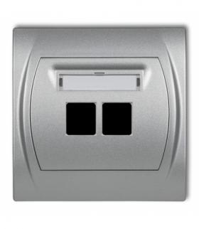 LOGO Gniazdo multimedialne podwójne bez modułu (standard Keystone) Srebrny metalik Karlik 7LGM-2P