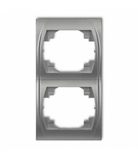 LOGO Ramka pionowa podwójna Srebrny metalik Karlik 7LRV-2