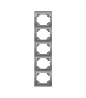 LOGO Ramka pionowa pięciokrotna Srebrny metalik Karlik 7LRV-5