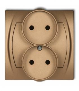 LOGO Gniazdo podwójne do ramki poziomej bez uziemienia 2x2P (przesłony torów prądowych) Złoty metalik Karlik 8LGPR-2p