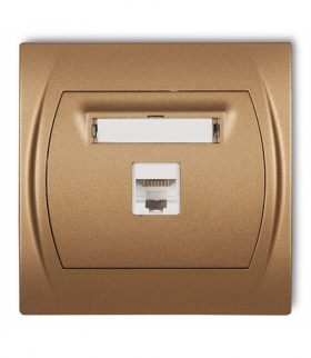 LOGO Gniazdo komputerowe pojedyncze 1xRJ45 kat. 5e 8-stykowy Złoty metalik Karlik 8LGK-1