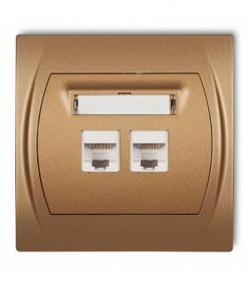 LOGO Gniazdo komputerowe podwójne 1xRJ45 kat. 5e 8-stykowy Złoty metalik Karlik 8LGK-2