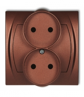 LOGO Gniazdo podwójne do ramki poziomej bez uziemienia 2x2P (przesłony torów prądowych) Brązowy metalik Karlik 9LGPR-2p