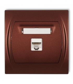 LOGO Gniazdo komputerowe pojedyncze 1xRJ45 kat. 5e 8-stykowy Brązowy metalik Karlik 9LGK-1