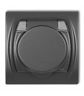 LOGO Gniazdo bryzgoszczelne z uziemieniem SCHUKO 2P+Z (klapka grafitowa przesłony torów prądowych) Grafitowy Karlik 11LGPB-1sp