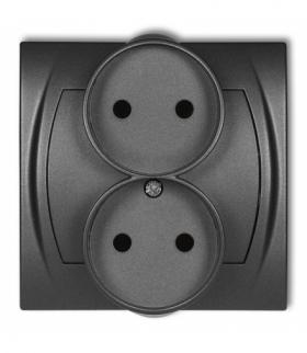 LOGO Gniazdo podwójne do ramki poziomej bez uziemienia 2x2P (przesłony torów prądowych) Grafitowy Karlik 11LGPR-2p