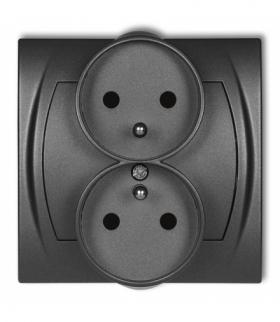 LOGO Gniazdo podwójne do ramki poziomej z uziemieniem 2x(2P+Z) (przesłony torów prądowych) Grafitowy Karlik 11LGPR-2zp