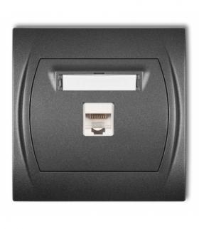 LOGO Gniazdo komputerowe pojedyncze 1xRJ45 kat. 5e 8-stykowy Grafitowy Karlik 11LGK-1