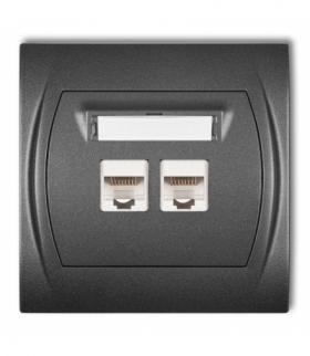 LOGO Gniazdo komputerowe podwójne 1xRJ45 kat. 5e 8-stykowy Grafitowy Karlik 11LGK-2
