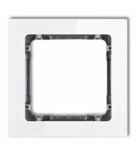DECO Ramka uniwersalna pojedyncza - efekt szkła (ramka biała spód grafitowy) Biały Karlik 0-11-DRS-1