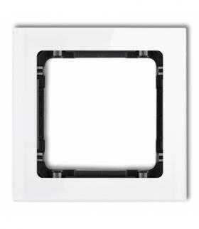 DECO Ramka uniwersalna pojedyncza - efekt szkła (ramka biała spód czarny) Biały Karlik 0-12-DRS-1