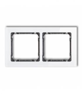 DECO Ramka uniwersalna podwójna - efekt szkła (ramka biała spód grafitowy) Biały Karlik 0-11-DRS-2
