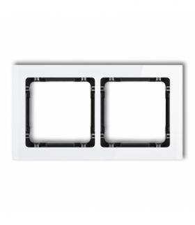 DECO Ramka uniwersalna podwójna - efekt szkła (ramka biała spód czarny) Biały Karlik 0-12-DRS-2