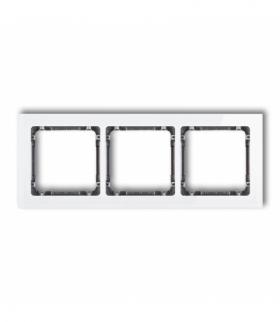 DECO Ramka uniwersalna potrójna - efekt szkła (ramka biała spód grafitowy) Biały Karlik 0-11-DRS-3