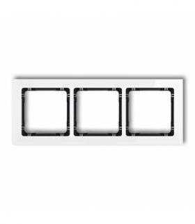 DECO Ramka uniwersalna potrójna - efekt szkła (ramka biała spód czarny) Biały Karlik 0-12-DRS-3