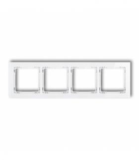 DECO Ramka uniwersalna poczwórna - efekt szkła (ramka biała spód biały) Biały Karlik 0-0-DRS-4