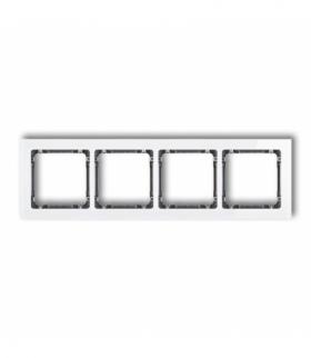 DECO Ramka uniwersalna poczwórna - efekt szkła (ramka biała spód grafitowy) Biały Karlik 0-11-DRS-4