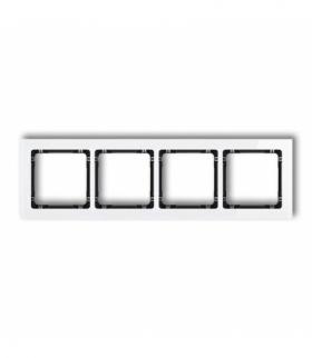 DECO Ramka uniwersalna poczwórna - efekt szkła (ramka biała spód czarny) Biały Karlik 0-12-DRS-4