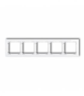 DECO Ramka uniwersalna pięciokrotna - efekt szkła (ramka biała spód biały) Biały Karlik 0-0-DRS-5