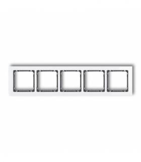 DECO Ramka uniwersalna pięciokrotna - efekt szkła (ramka biała spód grafitowy) Biały Karlik 0-11-DRS-5