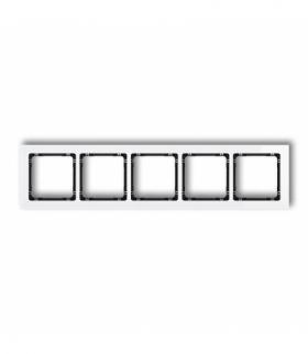 DECO Ramka uniwersalna pięciokrotna - efekt szkła (ramka biała spód czarny) Biały Karlik 0-12-DRS-5