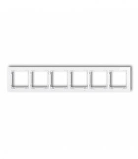 DECO Ramka uniwersalna sześciokrotna - efekt szkła (ramka biała spód biały) Biały Karlik 0-0-DRS-6