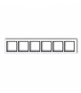 DECO Ramka uniwersalna sześciokrotna - efekt szkła (ramka biała spód czarny) Biały Karlik 0-12-DRS-6