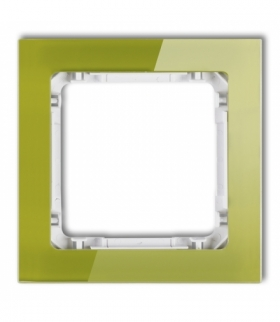 DECO Ramka uniwersalna pojedyncza - efekt szkła (ramka zielona spód biały) Zielony Karlik 2-0-DRS-1
