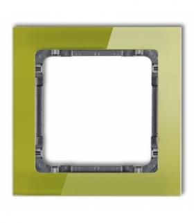 DECO Ramka uniwersalna pojedyncza- efekt szkła (ramka zielona spód grafitowy) Zielony Karlik 2-11-DRS-1