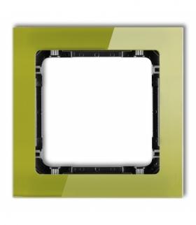 DECO Ramka uniwersalna pojedyncza - efekt szkła (ramka zielona spód czarny) Zielony Karlik 2-12-DRS-1