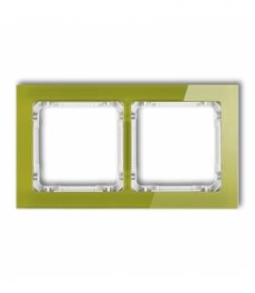 DECO Ramka uniwersalna podwójna - efekt szkła (ramka zielona spód biały) Zielony Karlik 2-0-DRS-2