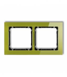 DECO Ramka uniwersalna podwójna - efekt szkła (ramka zielona spód czarny) Zielony Karlik 2-12-DRS-2