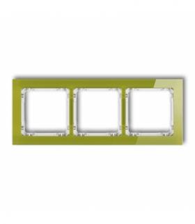 DECO Ramka uniwersalna potrójna - efekt szkła (ramka zielona spód biały) Zielony Karlik 2-0-DRS-3