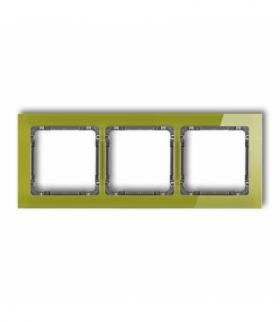 DECO Ramka uniwersalna potrójna - efekt szkła (ramka zielona spód grafitowy) Zielony Karlik 2-11-DRS-3