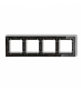 DECO Ramka uniwersalna poczwórna transparentna DECO Art - efekt szkła (ramka transparentna spód czarny) Transparentny Karlik 52-