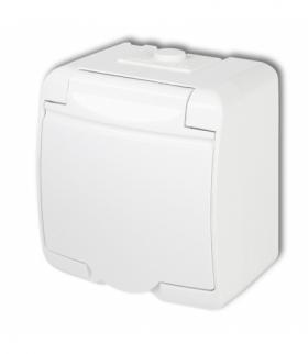 JUNIOR Gniazdo pojedyncze z uziemieniem SCHUKO 2P+Z (klapka biała przesłony torów prądowych) Biały Karlik GHE-1sp