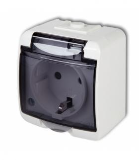 JUNIOR Gniazdo pojedyncze z uziemieniem SCHUKO 2P+Z (klapka dymna przesłony torów prądowych) Biały Karlik GHE-1sdp