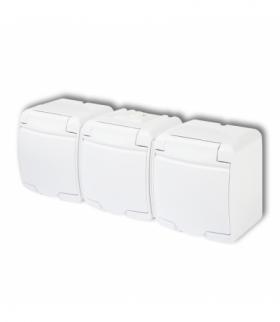JUNIOR Gniazdo potrójnez uziemieniem SCHUKO 3x(2P+Z) (klapka biała przesłony torów prądowych) Biały Karlik GHE-3sp
