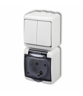 JUNIOR Łącznik świecznikowy z gniazdem hermetycznym SCHUKO (klapka dymna przesłony torów prądowych) Biały Karlik WGHP-2sdp