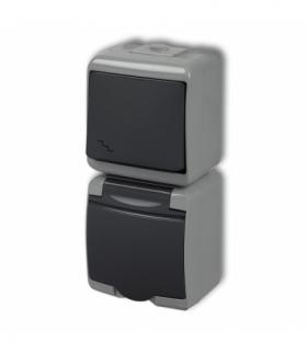 JUNIOR Łącznik schodowy z gniazdem pojedynczym z uziemieniem 2P+Z (klapka grafitowa bez przesłon) Popielaty / grafitowy Karlik 3