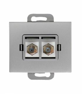 Onyx Gniazdo TV podwójne typu F TV-F/F/02 SREBRNY Abex 9002715