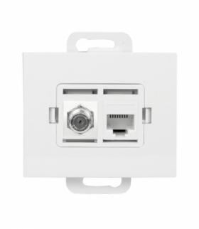 Onyx Gniazdo TV pojedyncze typu F + RJ45 komputerowe pojedyncze nieekranowane 6Cat TVF/F+RJ45/0 BIAŁY Abex 9002688