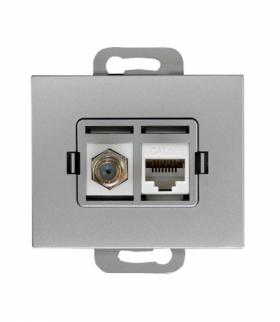 Onyx Gniazdo TV pojedyncze typu F + RJ45 komputerowe pojedyncze nieekranowane 6Cat TVF/F+RJ45/0 SREBRNY Abex 9002690